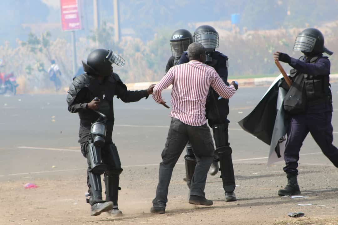 Protesters clash with police in Gambia