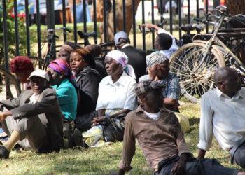 Zambian retirees camp outside