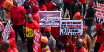 protest over new voters register in Ghana