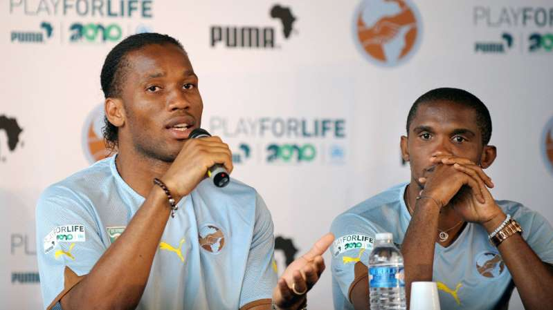 Drogba and Eto'o on covid-19 test trial