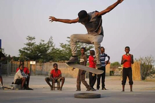 Young people skating in Zambia