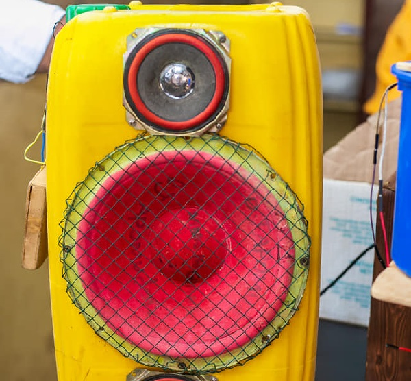 Sound system from plastic waste gallons
