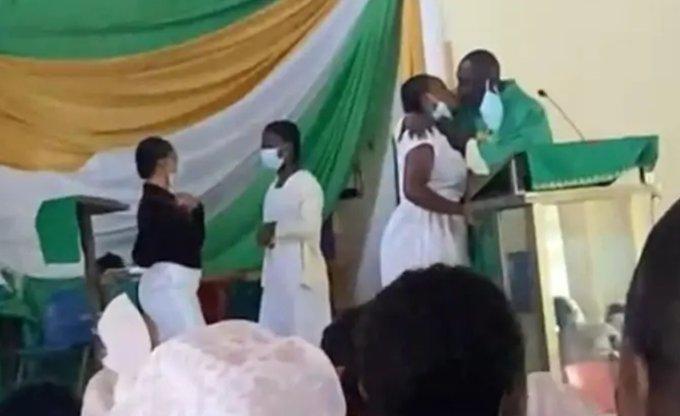 Priest kisses students in Ghana